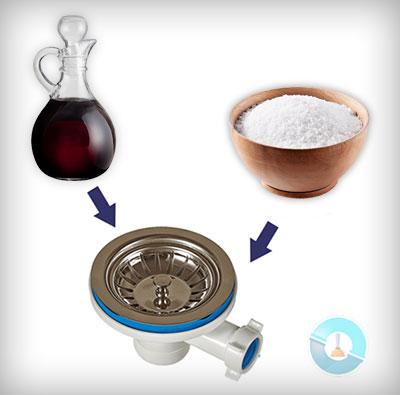 Απόφραξη νεροχύτη κουζίνας με αλάτι και ξύδι