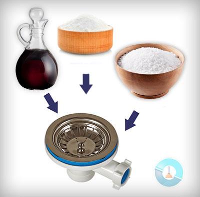 Απόφραξη (ξεβούλωμα) αποχέτευσης με σόδα, αλάτι και ξύδι
