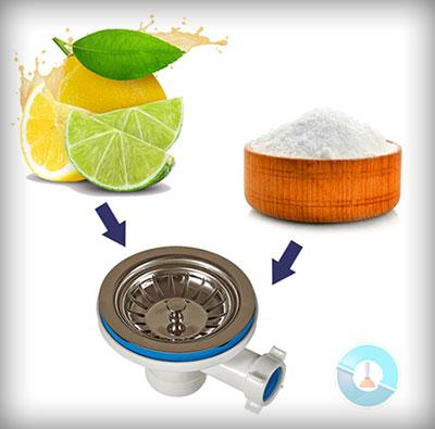 Ξεβούλωμα νεροχύτη με σόδα και λεμόνι